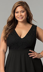 Image of lace-bodice v-neck plus-size short party dress. Style: SY-IXD5046AP Detail Image 1