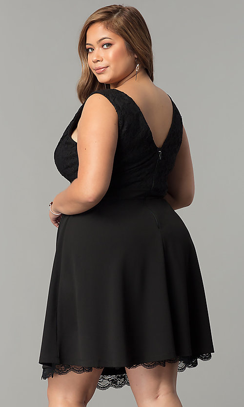 Image of lace-bodice v-neck plus-size short party dress. Style: SY-IXD5046AP Back Image