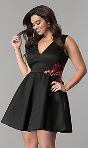Image of short black satin v-neck plus-size party dress. Style: SY-IXD5032VP Front Image