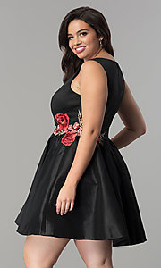 Image of short black satin v-neck plus-size party dress. Style: SY-IXD5032VP Back Image