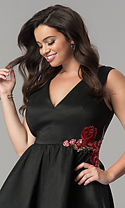 Image of short black satin v-neck plus-size party dress. Style: SY-IXD5032VP Detail Image 1