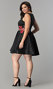 Image of short black satin v-neck plus-size party dress. Style: SY-IXD5032VP Detail Image 3