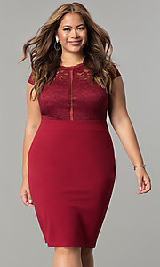 Image of lace-bodice short spandex-jersey plus party dress. Style: SY-IXD5231AP Detail Image 3