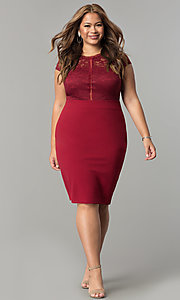 Image of lace-bodice short spandex-jersey plus party dress. Style: SY-IXD5231AP Detail Image 6