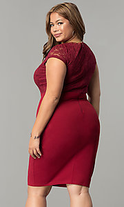 Image of lace-bodice short spandex-jersey plus party dress. Style: SY-IXD5231AP Detail Image 4