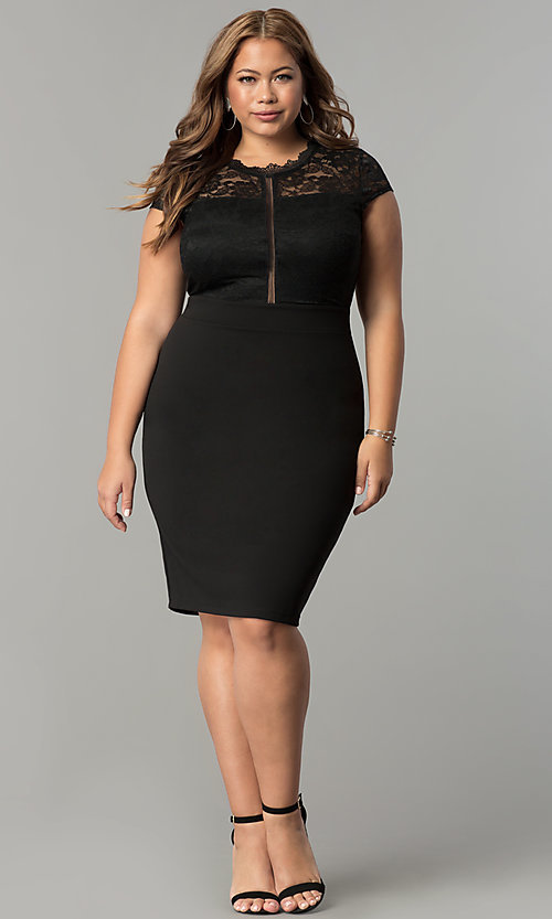 Image of lace-bodice short spandex-jersey plus party dress. Style: SY-IXD5231AP Detail Image 2