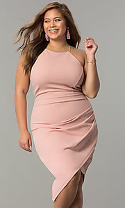 Asymmetrical Hem Short Plus-Size Party Dress