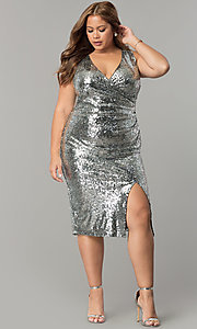 Image of sequin v-neck knee-length plus-size holiday dress. Style: SY-IXD5160AP Front Image