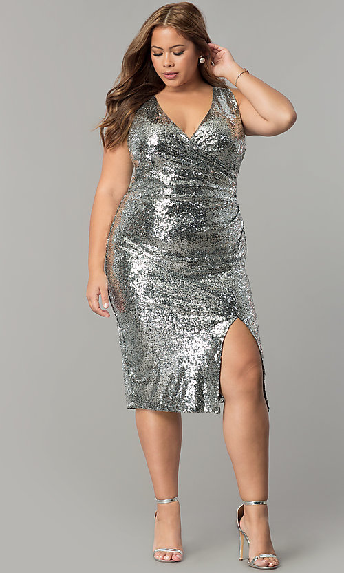 Plus-Size Ruched Sequin Holiday Dress - PromGirl