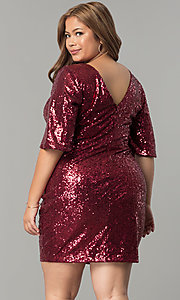 Image of short plus-size sequin holiday dress with sleeves. Style: SY-IXD5222VP Back Image
