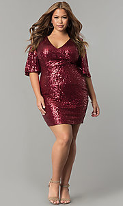 Image of short plus-size sequin holiday dress with sleeves. Style: SY-IXD5222VP Detail Image 2