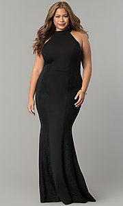 High-Neck Long Plus-Size Black Formal Mermaid Dress
