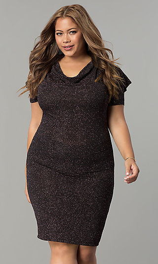 Cowl-Neck Short Plus-Size Holiday Party Dress