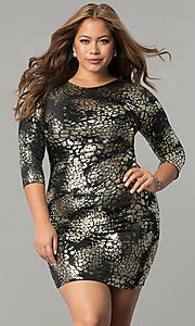 Metallic Jersey Short Holiday Party Plus Size Dress