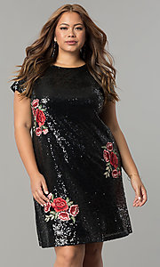 Short Embroidered Sequin Plus-Size Party Dress