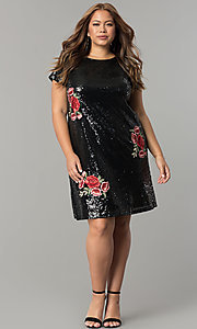 Image of short embroidered sequin plus-size party dress. Style: SY-IXD4865VP Detail Image 5