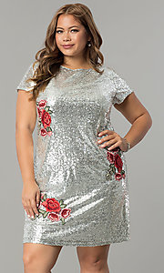 Image of short embroidered sequin plus-size party dress. Style: SY-IXD4865VP Front Image