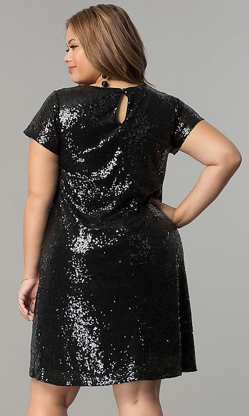 Image of short embroidered sequin plus-size party dress. Style: SY-IXD4865VP Detail Image 4