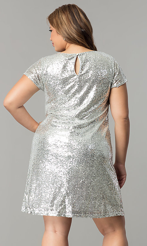 Image of short embroidered sequin plus-size party dress. Style: SY-IXD4865VP Back Image