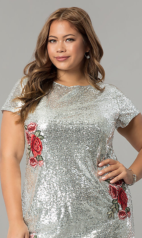 Image of short embroidered sequin plus-size party dress. Style: SY-IXD4865VP Detail Image 1