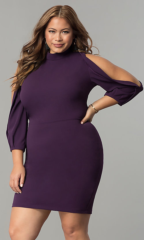 c5670489a3 Short Plum Purple Plus Party Dress with Sleeves