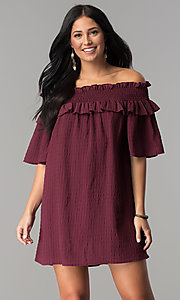 Off-the-Shoulder Short Shift Casual Party Dress