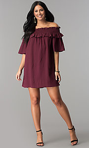 Image of off-the-shoulder casual dress with bell sleeves. Style: SY-KD5413BK Detail Image 1