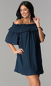 Image of off-the-shoulder casual dress with bell sleeves. Style: SY-KD5413BK Detail Image 2