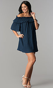 Image of off-the-shoulder casual dress with bell sleeves. Style: SY-KD5413BK Detail Image 3