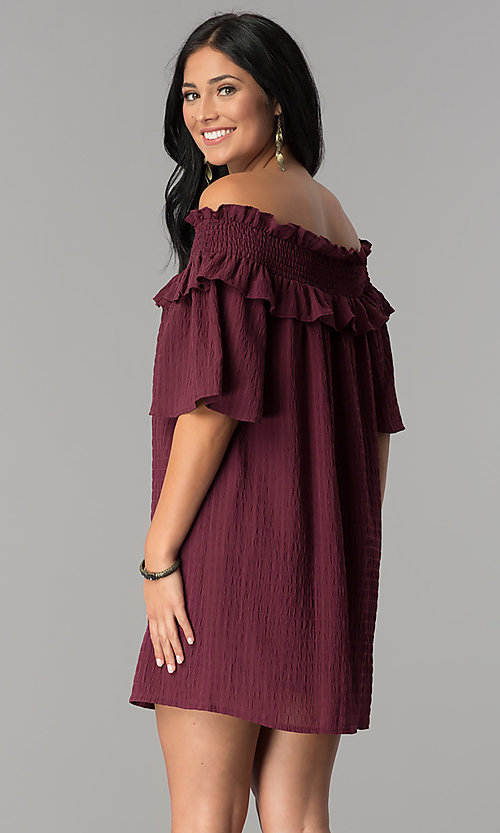 Image of off-the-shoulder casual dress with bell sleeves. Style: SY-KD5413BK Back Image