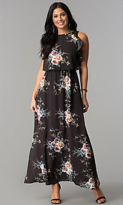 Floral Print Long Maxi-Dress with Side Slits