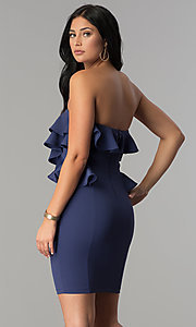 Image of ruffled short strapless wedding-guest party dress. Style: SY-ID4711VP Back Image