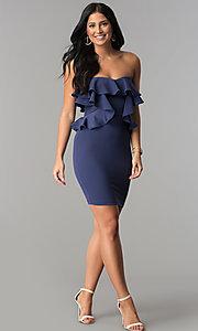 Image of ruffled short strapless wedding-guest party dress. Style: SY-ID4711VP Detail Image 1
