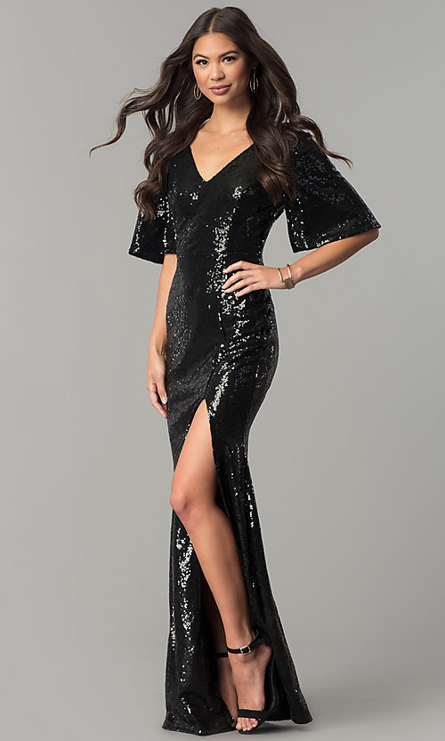 8150180e4dc Image of v-neck long sequin short-sleeve formal dress. Style  SY