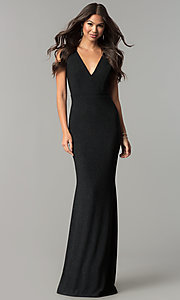 Image of long v-neck formal prom dress in black glitter jersey. Style: SY-IDM5217VP Front Image