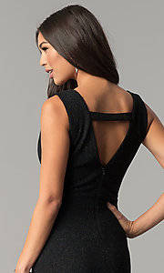 Image of long v-neck formal prom dress in black glitter jersey. Style: SY-IDM5217VP Detail Image 2