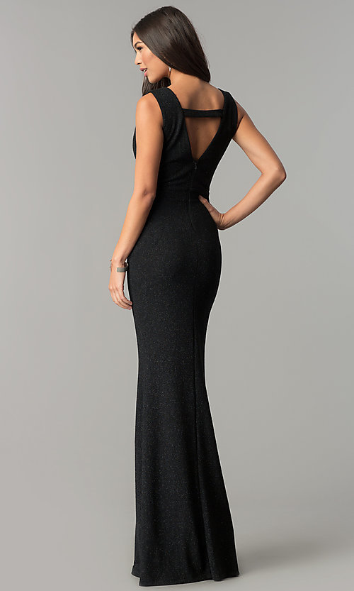 Image of long v-neck formal prom dress in black glitter jersey. Style: SY-IDM5217VP Back Image