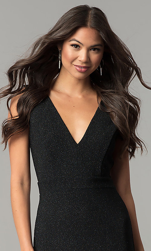 Image of long v-neck formal prom dress in black glitter jersey. Style: SY-IDM5217VP Detail Image 1