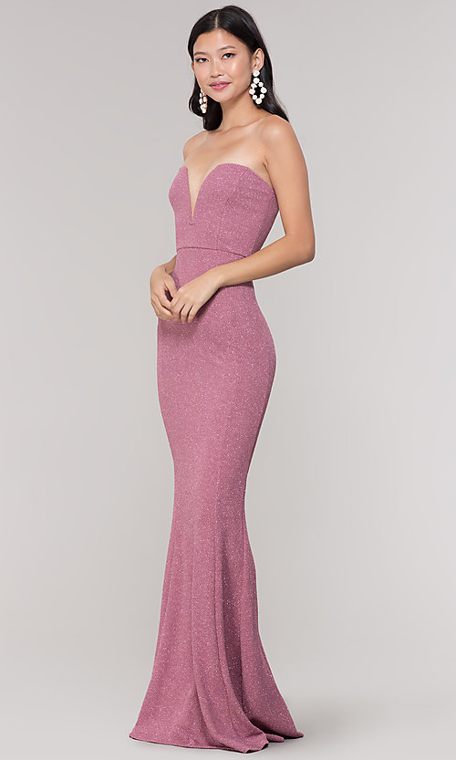 Image of strapless deep-sweetheart long mermaid prom dress. Style: SY-IDM5218VP Detail Image 3