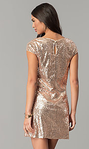 Image of sequin short cap-sleeve holiday party dress. Style: SY-ID4865VP Back Image