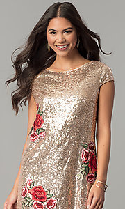 Image of sequin short cap-sleeve holiday party dress. Style: SY-ID4865VP Detail Image 1