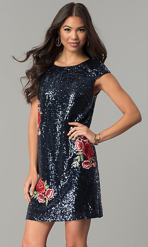 Image of sequin short cap-sleeve holiday party dress. Style: SY-ID4865VP Detail Image 2