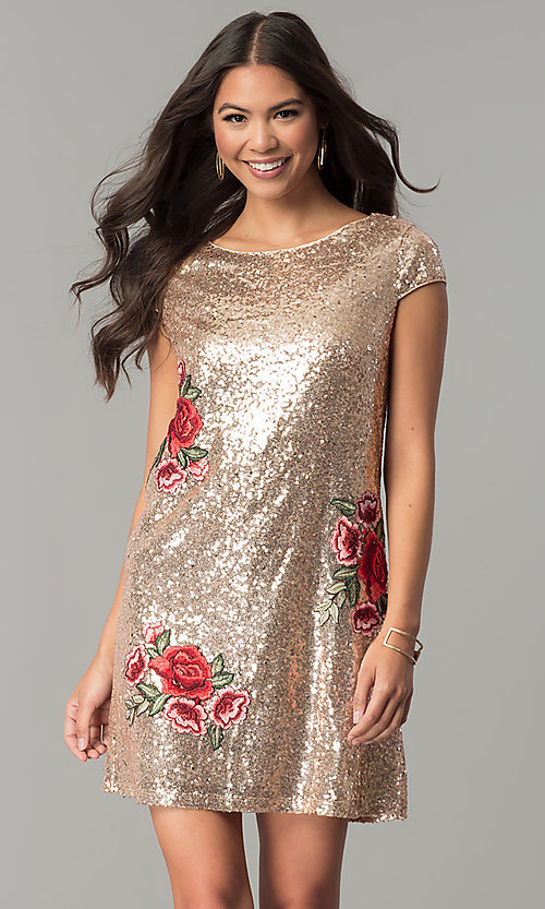 Image of sequin short cap-sleeve holiday party dress. Style: SY-ID4865VP Front Image