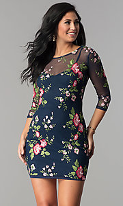Floral-Embroidered Short Party Dress with Sleeves