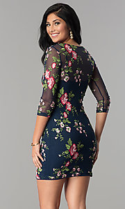 Image of floral-embroidered short party dress with sleeves. Style: MD-D14020CHD Back Image