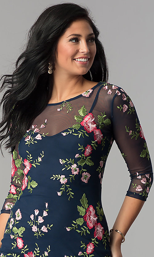Image of floral-embroidered short party dress with sleeves. Style: MD-D14020CHD Detail Image 1