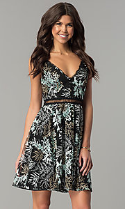 Black Short Party Dress with Floral Embroidery