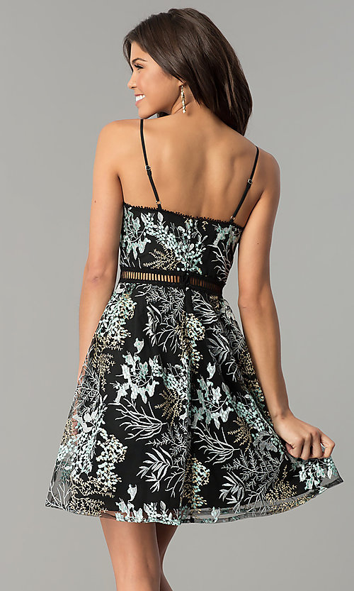 Image of black short party dress with floral embroidery. Style: MD-D15532-CIQ Back Image