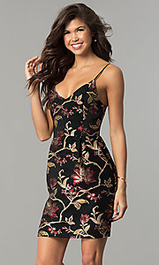 Floral-Print Jacquard V-Neck Short Party Dress