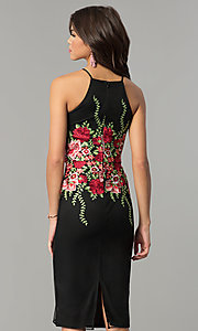 Image of embroidered black knee-length wedding-guest dress. Style: MD-D15622CKP Back Image